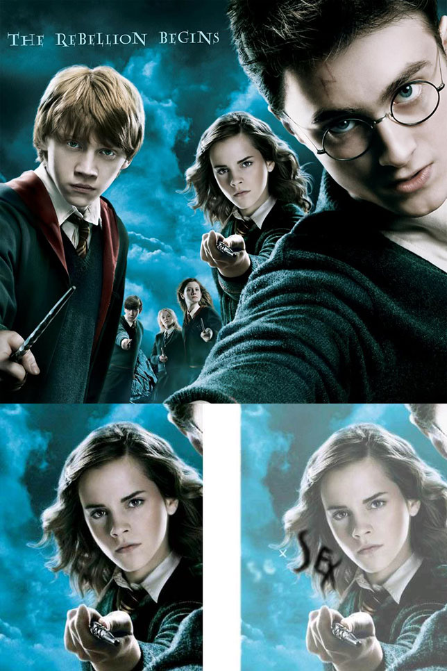 Theatrical poster for Harry Potter and the Order of the Phoenix - Word 'sex' hidden in hair