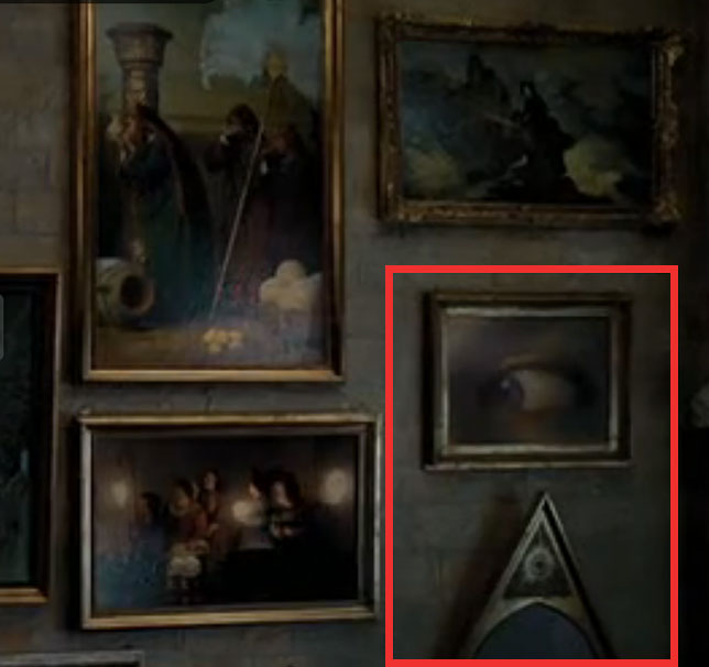 All-Seeing Eye and pyramid hidden among the many framed paintings ...Illuminati All Seeing Eye Celebrities
