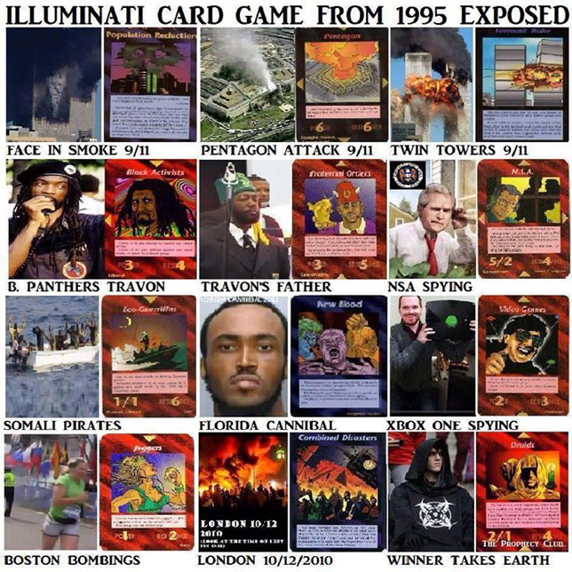 Predictions in Steve Jackson's Illuminati card game, 1995 version