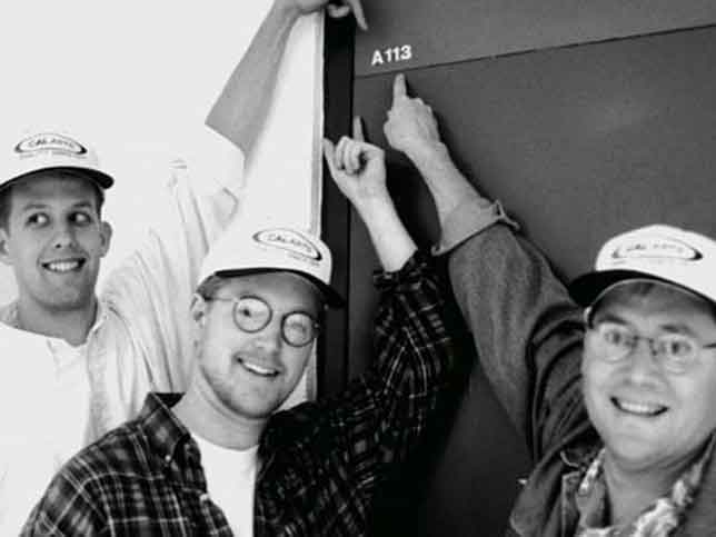 Pixar animators Pete Docter, Andre Stanton, and John Lasseter