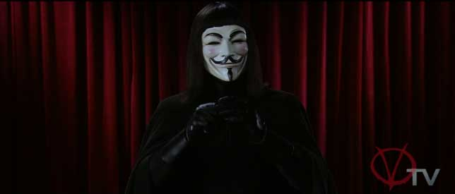V wearing the iconic Guy Fawkes mask