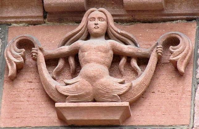 Greek Siren depicted at the Church of Saint Faith of Sélestat on France