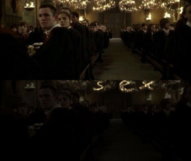 Harry Potter and the Half-Blood Prince - word 'sex' dissimulated in ceiling lights