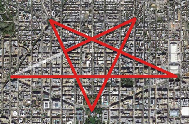 Illuminati symbols Streets of Washington DC Pentagram