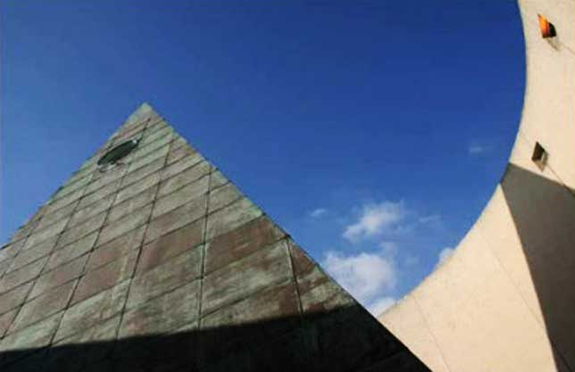 Close up view of pyramid and all-seeing eye