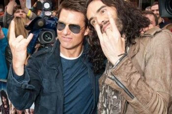Illuminati symbols Tom Cruise and Russell Brand devils horns