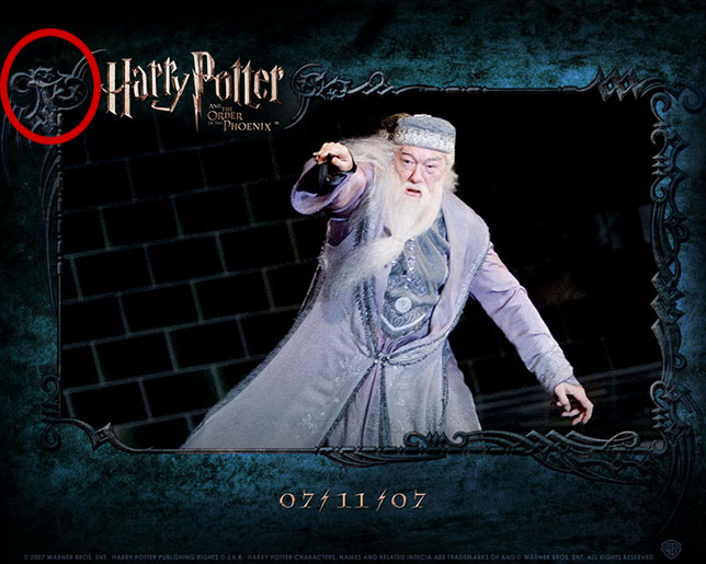 "Promotional poster for Harry Potter and the Order of the Phoenix -""sex' dissimulated in border decoration"