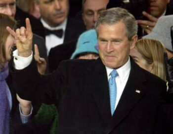 illuminati signs gw bush devils horns