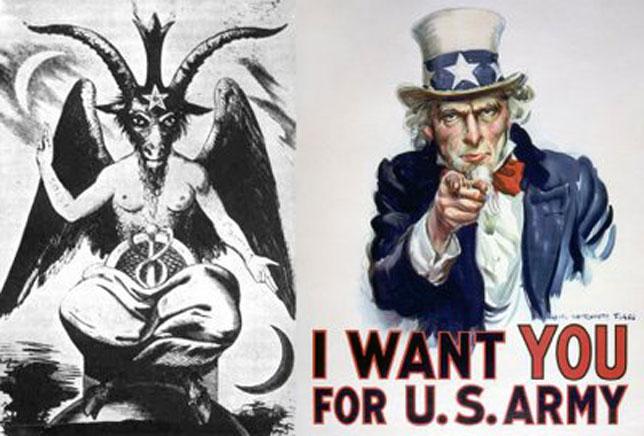 Uncle Sam Baphomet   Illuminati Symbols Illuminati Signs In Spongebob
