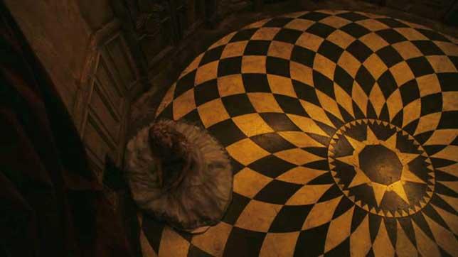 illuminati symbols alice in wonderland checkered floor